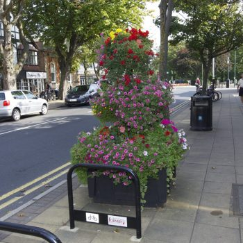 Flower display in the Formby Village