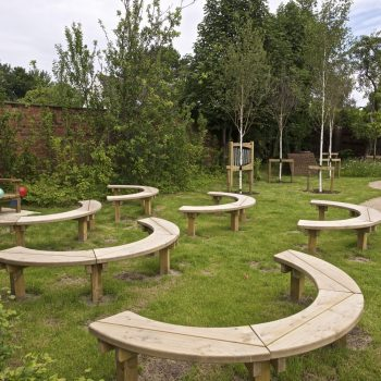 The reading area in Formby Library Garden