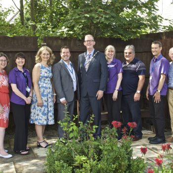 Formby Parish Councillors and Formby Library staff at the opening of the Library Gardens